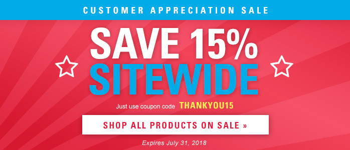 Save 15% Sitewide - Coupon code THANKYOU15